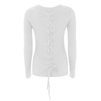 Buy Lace Ribbed Knit Sweater WHITE