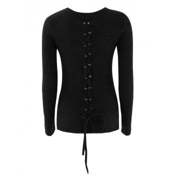 Buy Lace Ribbed Knit Sweater BLACK