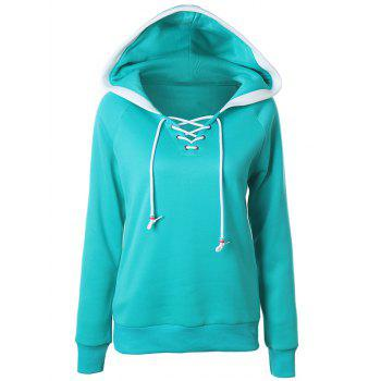 Lace Up Raglan Sleeve Two Tone Hoodie