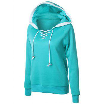 Lace Up Raglan Sleeve Two Tone Hoodie - GREEN L
