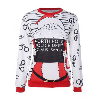Santa Claus Striped Graphic Pullover Christmas Sweatshirt