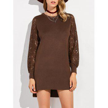 Lace Panel High Low Sweater Dress