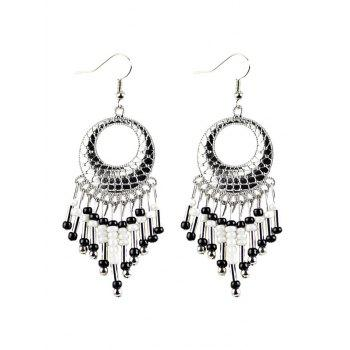 Beads Tassel Snakeskin Round Drop Earrings