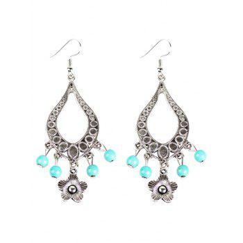 Flower Bead Hollowed Water Drop Earrings