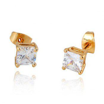 Square Rhinestone Gold Plated Stud Earrings