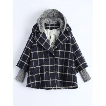 Hooded Plus Size Plaid Coat