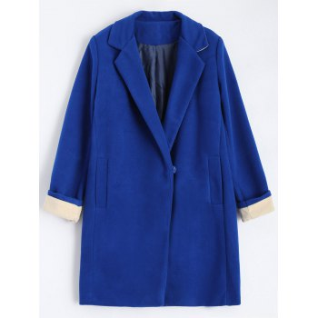 Plus Size Lapel Wool Blend Coat