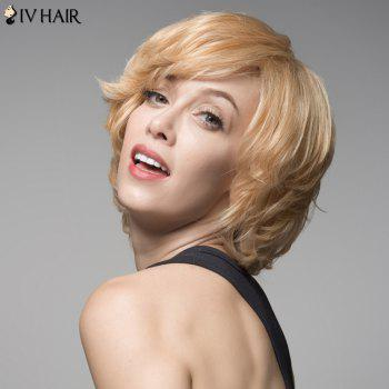 Siv Hair Towheaded Wave Capless Human Hair Short Wig - BROWN/BLONDE