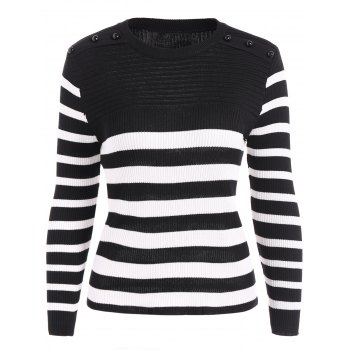 Ribbed  Striped Beads Knitwear