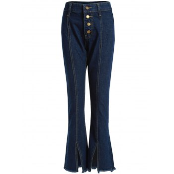 Boot Cut Slit Frayed Hem Jeans