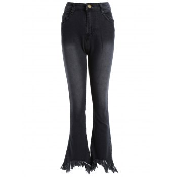 Frayed Hem High Waisted Bell-Bottom Jeans