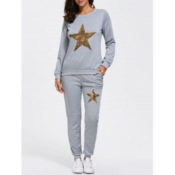 Star Sequined Sweatshirt with Jogger Pants