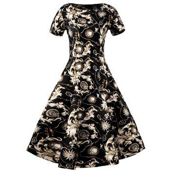Slim Fit Ornate Print Swing Dress