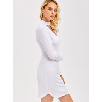 Short Tight Hollow Out Bodycon Dress - WHITE S