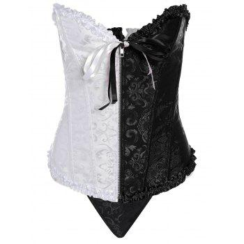 Color Block Zip Up Jacquard Corset