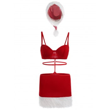 Christmas Santa Velvet Cosplay Dress - RED RED