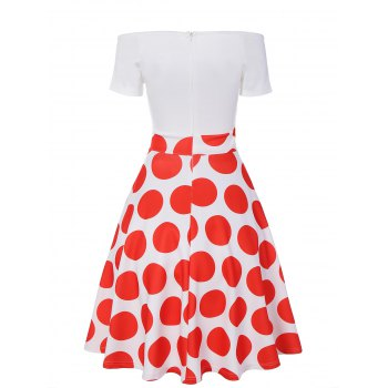 Off The Shoulder Polka Dot A Line Dress - RED RED