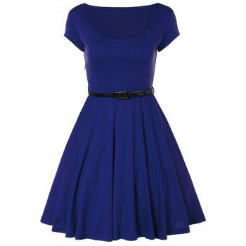 Scoop Neck A Line Dress With Belt