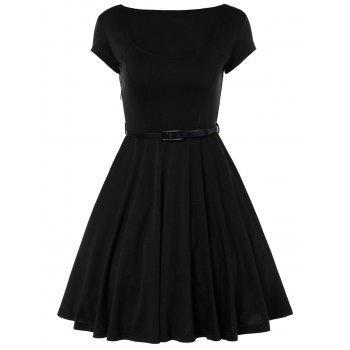 Scoop Neck A Line Dress With Belt - BLACK BLACK