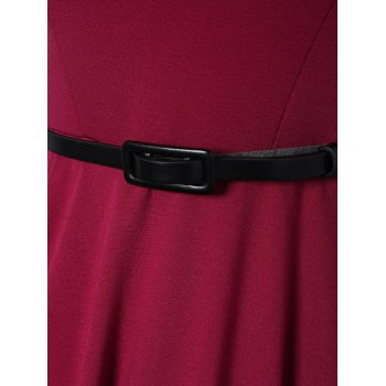 Scoop Neck A Line Dress With Belt - PURPLE RED XL