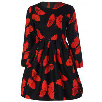 Butterfly Print Slimming A Line Dress