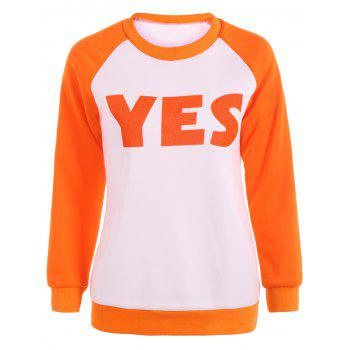 Yes Letter Raglan Sleeve Tee
