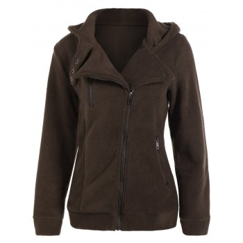 Button Asymmetric Zipper Hooded Jacket