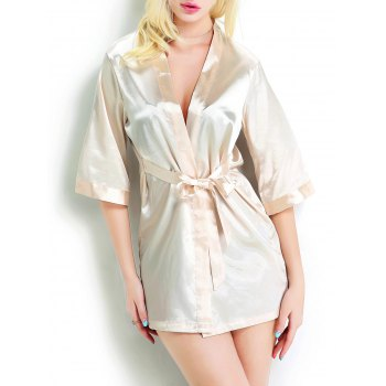 Open Front Tied Belt Satin Wrap Sleepwear