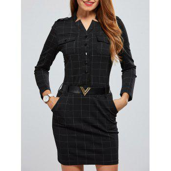 V Neck Plaid Badges Design Dress
