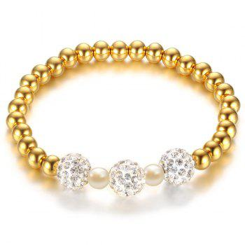 Polished Bead Gold Plated Rhinestone Bracelet