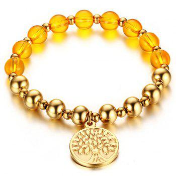 Beaded Gold Plated Tree Charm Bracelet