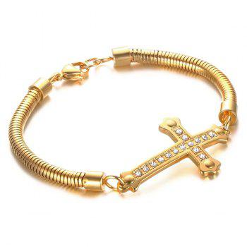 High Polished Cross Rhinestone Bracelet