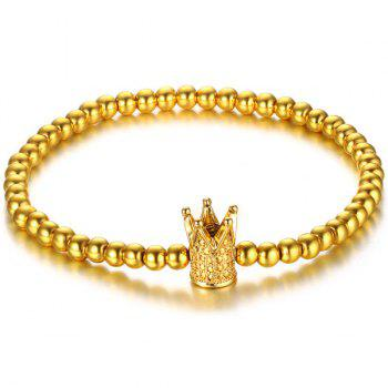 Polished Crown Bead Gold Plated Bracelet