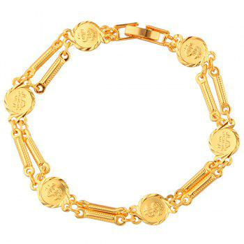 Shiny Dollar Sign Gold Plated Bracelet