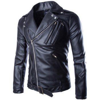 Zippers Design Turndown Collar PU Leather Jacket