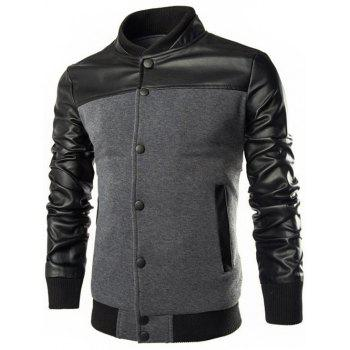 Stand Collar PU Leather Splicing Design Single Breasted Jacket