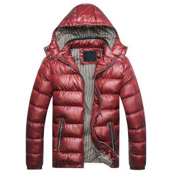 Zip Up Detachable Hooded Thicken Down Jacket