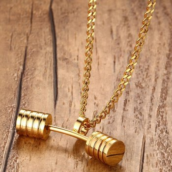 Stainless Steel Barbell Pendant Necklace For Men -  GOLDEN