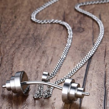 Stainless Steel Dumbbell Pendant Necklace - SILVER