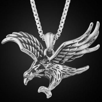 Engraved Eagle Pendant Necklace -  SILVER
