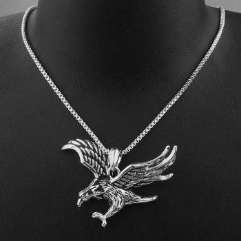 Engraved Eagle Pendant Necklace - SILVER SILVER