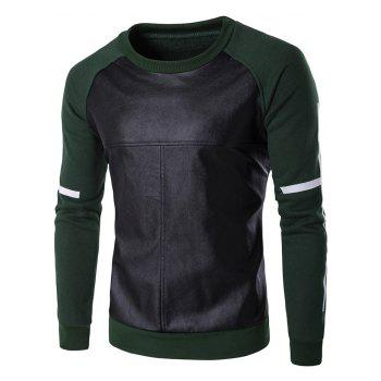Crew Neck PU Leather Splicing Design Raglan Sleeve Sweatshirt