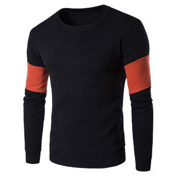 Crew Neck Color Block Splicing Design Flocking Sweatshirt