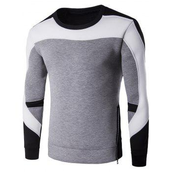 Side Zipper Design Color Block Splicing Crew Neck Sweatshirt