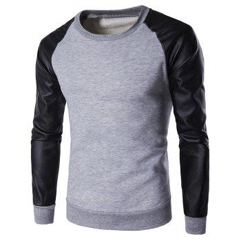 Crew Neck PU Leather Splicing Flocking Raglan Sleeve Sweatshirt
