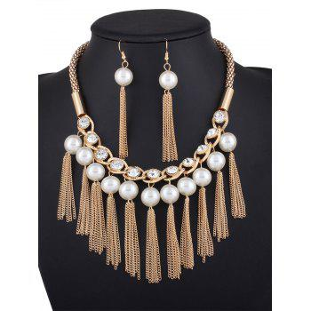 Buy Fake Pearl Chain Tassel Necklace Earrings GOLDEN