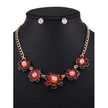 Rhinestone Flower Necklace with Earrings