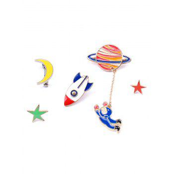 Star Moon Rocket Spaceman Brooch Set