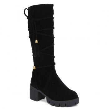 Zipper Lace Up Tassels Boots
