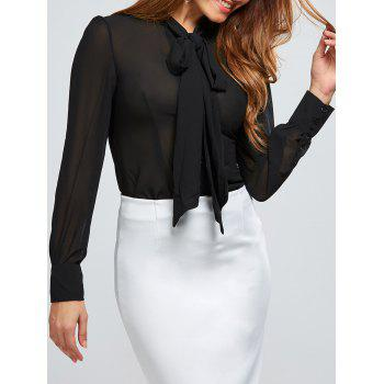 See Through Bow Tie Collar Chiffon Blouse